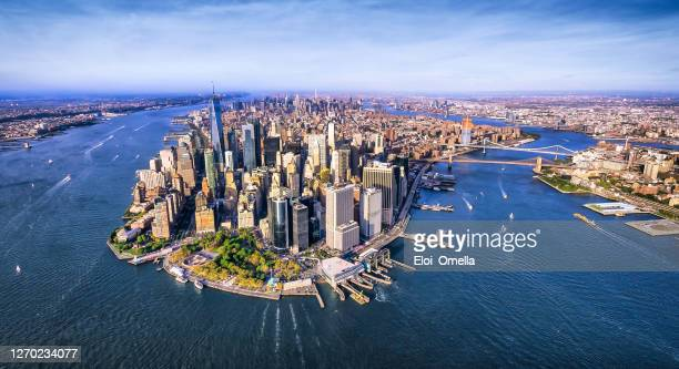 panoramic aerial view of lower manhattan. new york - new york state stock pictures, royalty-free photos & images