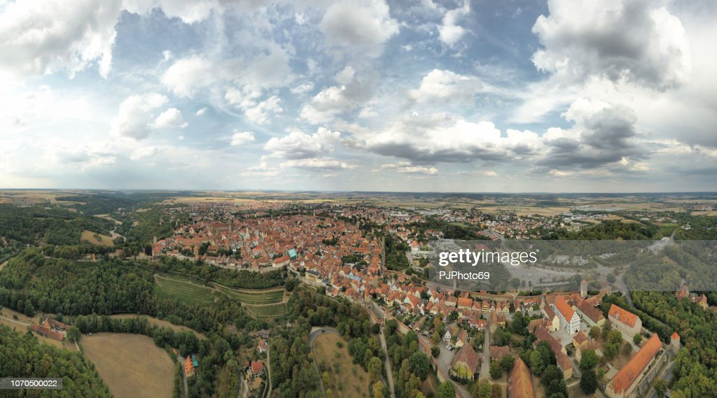 Panoramic aerial view of Rothenburg - Germany : Foto stock