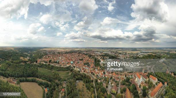 panoramic aerial view of rothenburg - germany - pjphoto69 foto e immagini stock