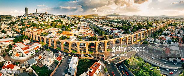 panoramic aerial view of santiago de queretaro mexico - mexico city stock pictures, royalty-free photos & images
