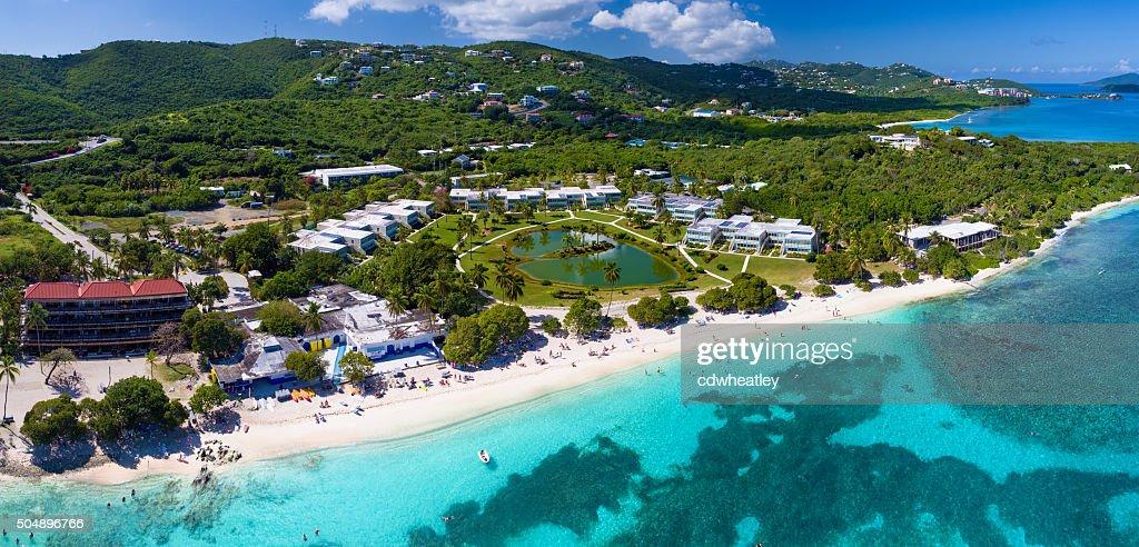 panoramic aerial view of Sapphire Bay, St.Thomas, US Virgin Islands : Stock Photo