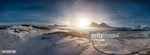 Panoramic aerial view of Seiser Alm at sunrise