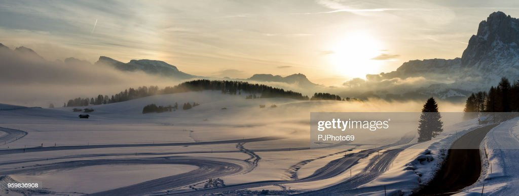 Panoramic aerial view of Seiser Alm at sunrise : Foto stock