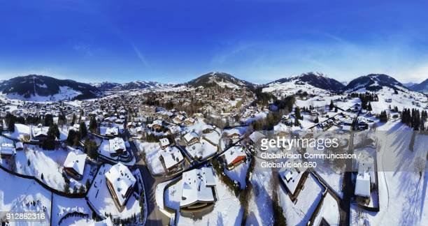 panoramic aerial view of swiss chalets in gstaad, switzerland - gstaad stock pictures, royalty-free photos & images