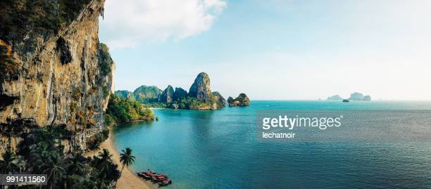 panoramic aerial view of the railay beach, krabi province, thailand - indian ocean stock pictures, royalty-free photos & images