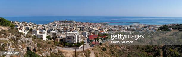 Panoramic aerial view of the Rethymnon city, Crete, Greece, Mediterranean