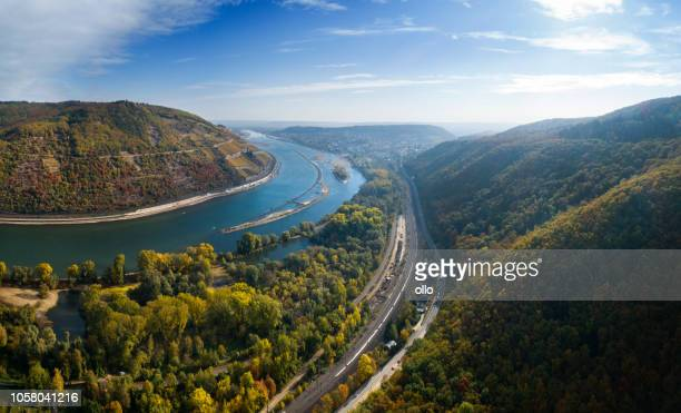 Panoramic aerial view over River Rhine, Germany