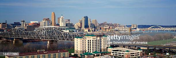 Panoramic afternoon shot of Cincinnati skyline, Ohio and Ohio River as seen from Covington, KY