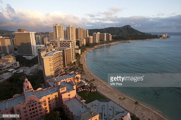 Panoramic and aerial view of Waikiki Beach O'ahu Hawaii Waikiki is most famous for its beaches and every room is just two or three blocks away from...