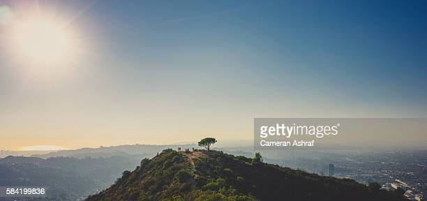panoramic and scenic view of west los angeles from hiking in the hollywood hills - hollywood california stock pictures, royalty-free photos & images