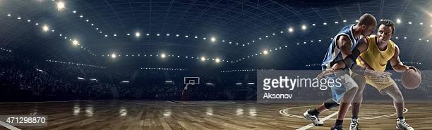 Panoramic basketball game moment
