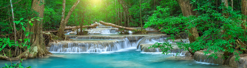 Panoramic beautiful deep forest waterfall in Thailand 946783856