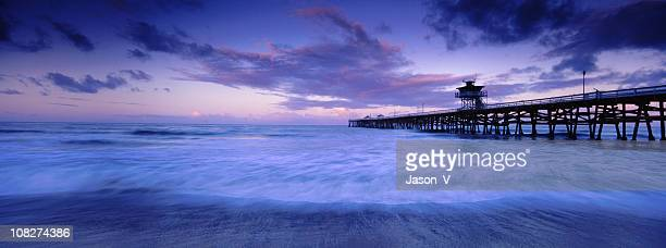 panoramic california pier - san clemente california stock pictures, royalty-free photos & images