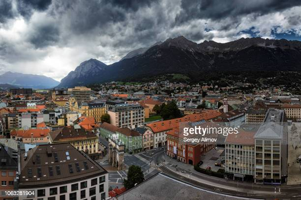 panoramic cityscape of innsbruck, austria - innsbruck stock pictures, royalty-free photos & images