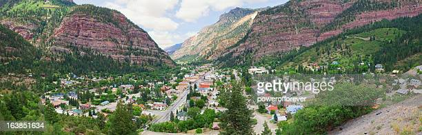 panoramic cityscape of ouray, colorado - san juan mountains stock photos and pictures