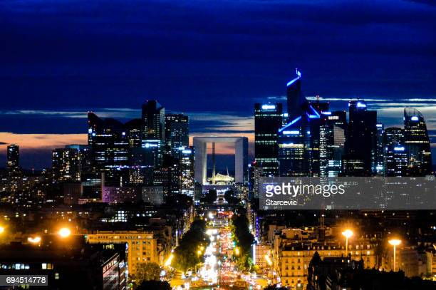 Panoramic cityscape of Paris in the evening