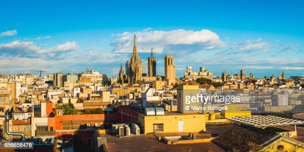 Panoramic cityscape of the old town. Barcelona, Spain.