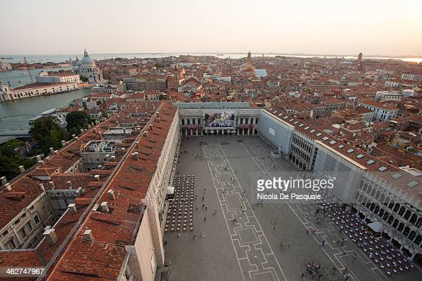 CONTENT] Panoramic cityscape of Venice taken from the tower of St Mark Basilica showing St Mark's Square and some buildings July 15 2013