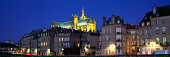 skyline view metz moselle riverbank with