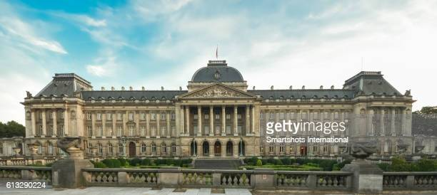 Panoramic, complete full length front view of Brussels Royal Palace, Belgium