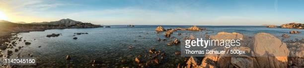 panoramic costa smeralda - costa smeralda stock pictures, royalty-free photos & images