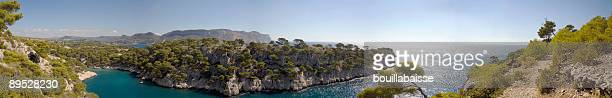 calanques panoramic - cassis stock pictures, royalty-free photos & images