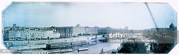 Panoramic daguerreotype of Paris by Charles Louis Chevalier sent to Fox Talbot On the left are houseboats with the Louvre Museum in the centre and...