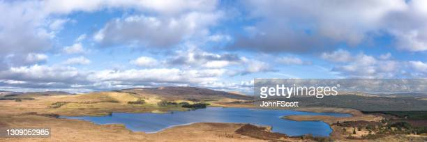 panoramic drone view of a scottish loch - johnfscott stock pictures, royalty-free photos & images