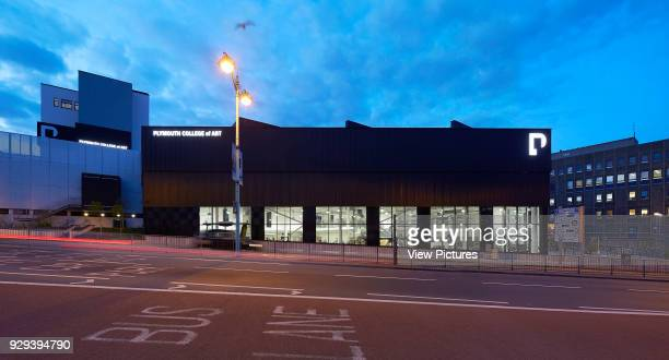 Panoramic dusk elevation of building on slope Plymouth College of Art Plymouth United Kingdom Architect Feilden Clegg Bradley Studios LLP 2016