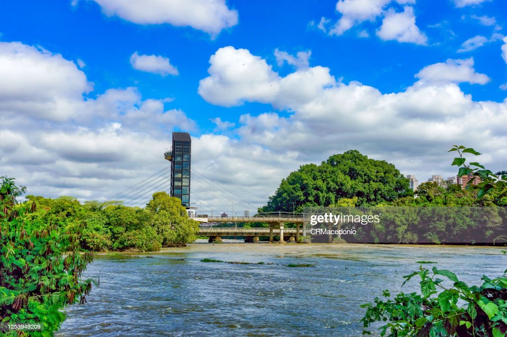 Panoramic elevator over the Piracicaba River. : Stock Photo