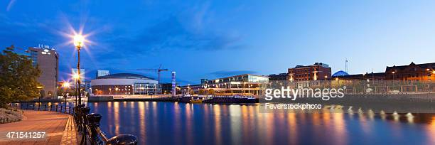 panoramic evening view across the river lagan belfast northern ireland - belfast stock pictures, royalty-free photos & images