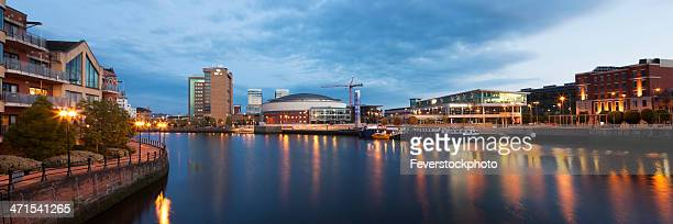panoramic evening view across the river lagan belfast - belfast stock pictures, royalty-free photos & images