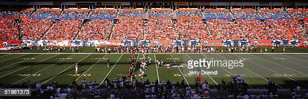 Panoramic field view from the lower level of DHL Pro Player Stadium during a game between the Buffalo Bills and the Miami Dolphins on December 5 2004...