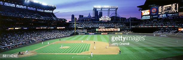 Panoramic first base side view of Safeco Field from a camera deck at dusk during a game between the Los Angeles Angels of Anaheim and the Seattle...