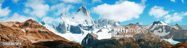 panoramic fitz roy mountain, el chalten, patagonia, argentina - steep stock photos and pictures