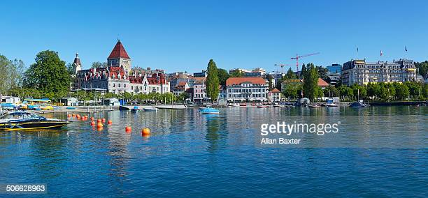 panoramic format image lausanne - lausanne stock pictures, royalty-free photos & images