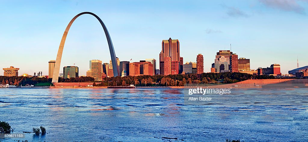 Panoramic format image of St Louis at sunrise : Stock Photo