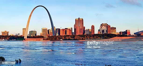 Panoramic format image of St Louis at sunrise