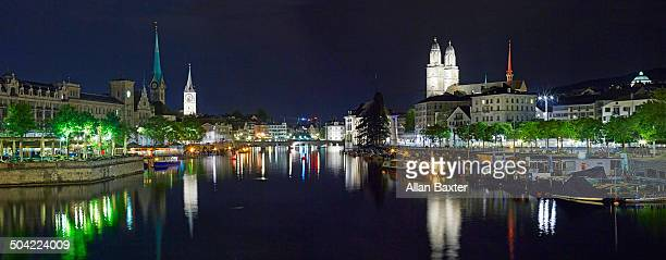 Panoramic format image of the old city of Zurich