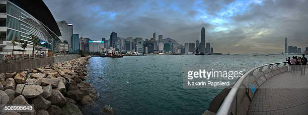 CONTENT] Panoramic from Hong Kong Convention And Exhibition Centre to show buildings of Central Hong Kong