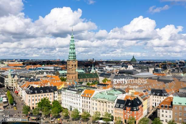 Panoramic high angle view of Copenhagen skyline
