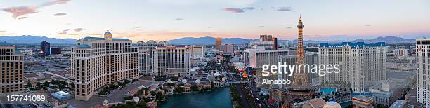 Panoramic high angle view of Las Vegas Strip at sunset