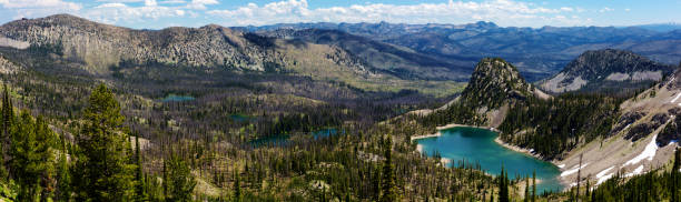 Panoramic high angle view of Ruffneck Lake in Franch Church Wilderness, central Idaho in summer close to Stanley, along hiking trail to Ruffneck Peak