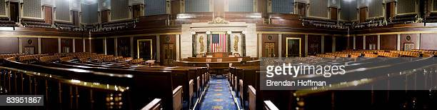 A panoramic image made from multiple photographs of the US House of Representatives chamber is seen December 8 2008 in Washington DC Members of the...