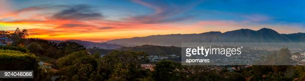 panoramic image of caracas city aerial view with el avila - avila stock photos and pictures
