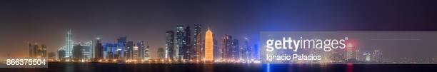 Panoramic image of Doha skyline at night, Qatar