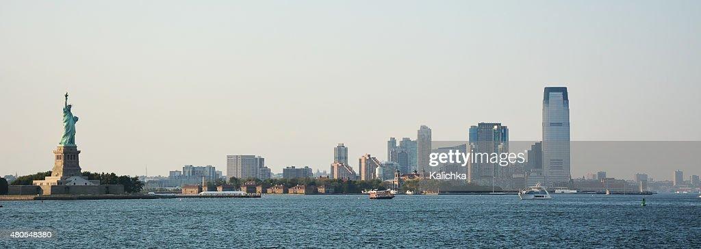 Imagen panorámica de lower Manhattan skyline Desde Staten Island : Foto de stock