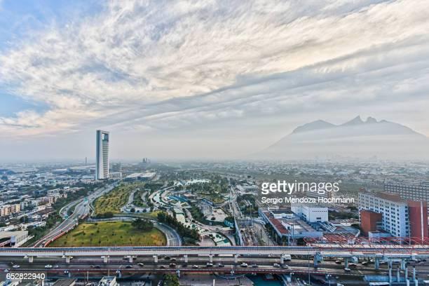 a panoramic image of monterrey, mexico - monterrey mexico stock photos and pictures