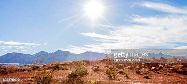 Panoramic image of mountain range, Valley of Fire State Park, Nevada, USA