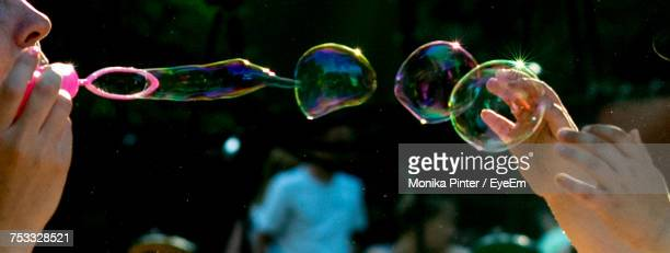Panoramic Image Of Playful Mother Blowing Bubbles With Child